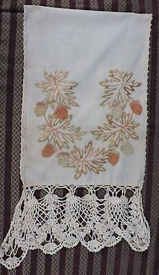 Victorian 19Th C Hand Embroidered Acorn Linen Bureau Scarf W Hand Made Lace