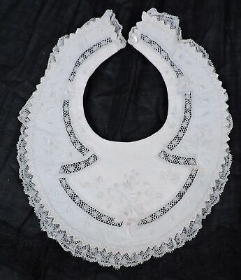 Victorian 19Th C Baby Bib With Ornate Hand Embroidery