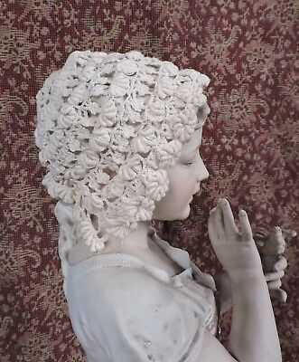 19Th C Hand Made Lace Baby Bonnet / Cap For Dress