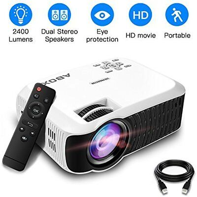 ABOX T22 Upgraded 2400 Lumens Portable LCD Video Projector, Multimedia Home HDMI