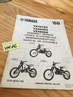 Yamaha YZ125 YZ250 YZ490 U 1988 instruction preparation setup manuel montage