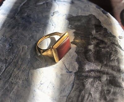 RARE! Late Gothic Gold and Carnelian Ring. Italian. Very Rare. See Video