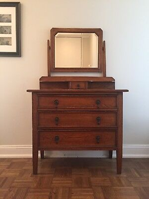 Gorgeous Antique English Oak DRESSER  w/ Beveled Mirror - Pick Up NYC