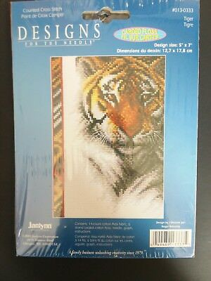 "Tiger Counted Cross Stitch Kit Janlynn 2005 Wildlife Mini Series 5""x7"""
