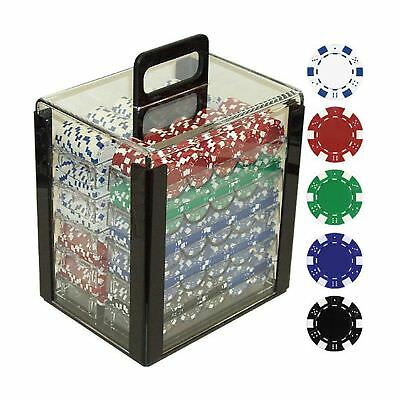 Trademark Poker 1000 Dice Striped Chips in Acrylic Carrier, 11.5gm, Clear