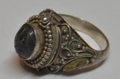 Antique Sterling 925 Rare Ring W/egyption Symbol On Stone Secret Compartment