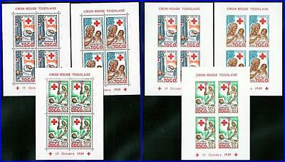 TOGO 1959 RED CROSS x6 S/S MNH CV$30.00  MEDICINE, NURSES, BLOOD