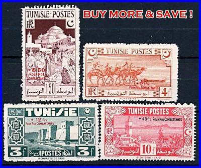 TUNISIA 1945 for SOLDIERS in WWII SC#B80-83 MH HR OG ARCHITECTURE, CAMELS