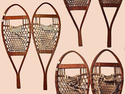 Pair Of Vintage Hand Crafted Maine Snowshoes Made Of Ash & Rawhide W/ Harnesses