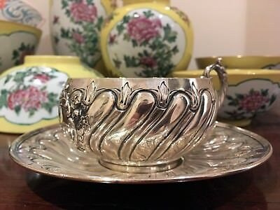 Louis XV Rococo Style French Sterling Silver Minerva Tea Cup and Saucer 1880s