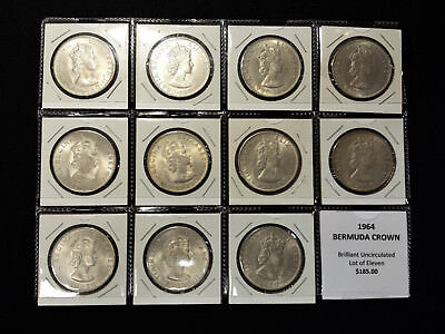 1964 Bermuda Silver Crowns - Brilliant Uncirculated, Lot of Eleven Coins