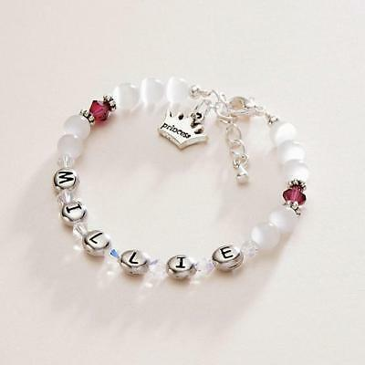 Premium Quality, Girls Name Bracelet with Birthstones, Choice of Charm, Any Name