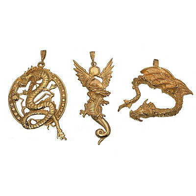 24K Yellow Gold Plated Dragon Trio Fire Lightning Wind Pendant Charm Jewelry New