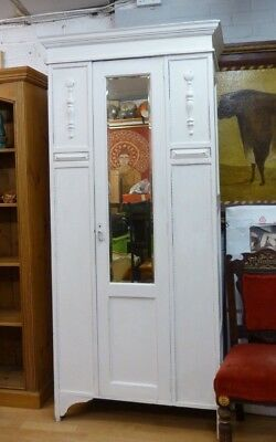 Pretty Vintage Painted Single Wardrobe with Mirror