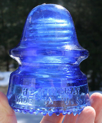 Milky Cobalt Blue CD 162 Hemingray No 19 Glass Insulator with Large Dome '1'