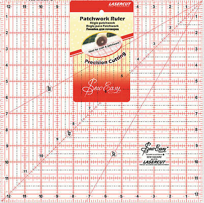 "Sew Easy Quilting Patchwork Ruler 12.5"" Square, Lasercut For Precision"