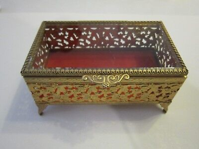 Vintage Avon Gold Colored Jewelry - Trinket  Box With Glass Lid Avon