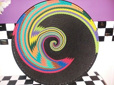 """Fair Trade 12"""" South Africa Telephone wire basket, beautiful multi colors."""