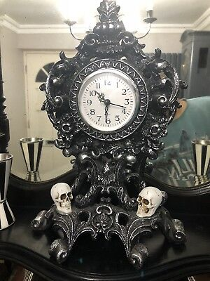 Vintage Victorian Gothic Antique Skull Clock Imported USA. Haunted Mansion