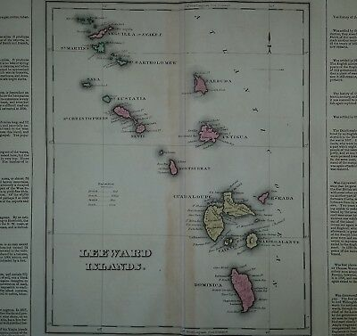 Caribbean 1827 Vintage Map -- Original, color, 191 years old!