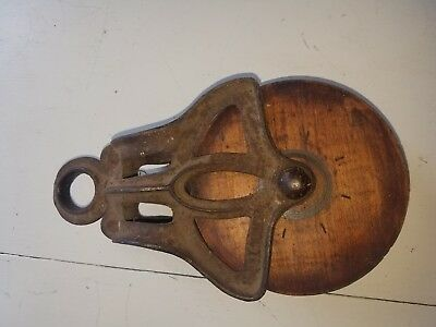 Antique Wood And Steel Block & Tackle Pulleys Set of Two