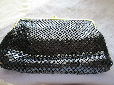 Black Mesh Evening disco dance party bag clutch gold tone clasp AM5