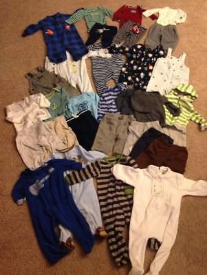 Huge Lot Of 31 Baby Boy Sleepers Pants Bodysuits Sets Size 6 Months Carters