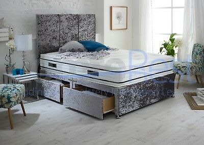 """3 PANEL CRUSHED VELVET DIVAN BED WITH 54"""" LARGE DIAMONDS Headboard- Made in UK"""