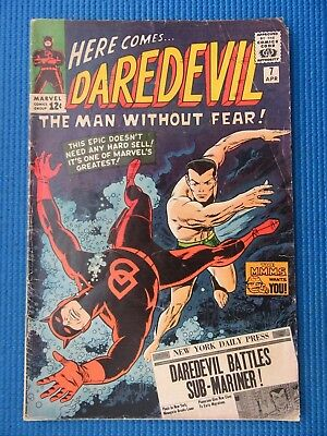Daredevil # 7 - (Vg) - 1St New Red Costume, Sub-Mariner - Has Pin Up Page