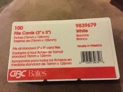 """100 GBC Bates Rotary Refill Cards 3 x 5"""" 9839679 for Rolodex New & Sealed"""