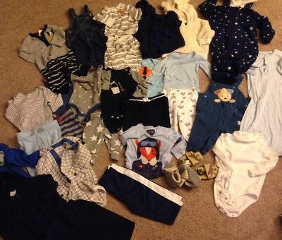 Lot Of 31 Baby Boy Bodysuits Pants One Pieces Jackets Size 3-6 Months Baby Gap