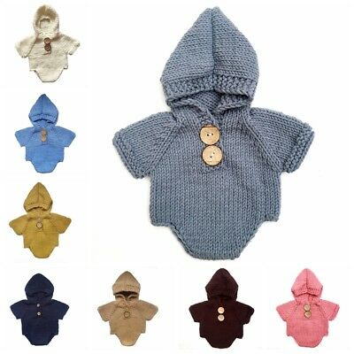 Hot Baby Girls Boys Knit Crochet Hooded Romper Photo Photography Prop Outfits