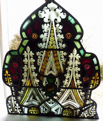 Antique Vtg Church Stained Glass Sun Catcher Architectural Salvage Gothic W417