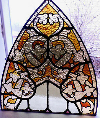 Antique Vtg Church Stained Glass Sun Catcher Architectural Salvage Gothic W416
