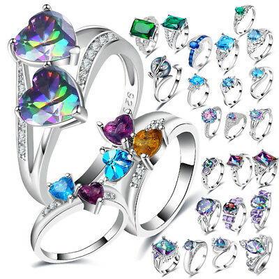 925 Silver Wedding Engagement Rings Zircon Princess Colorful Crystal Love 6-9