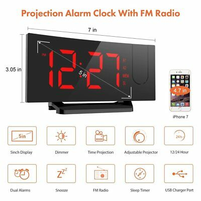 "Projection Snooze Alarm Clock Backlight Wall Projector Clocks 5"" Large Screen FM"
