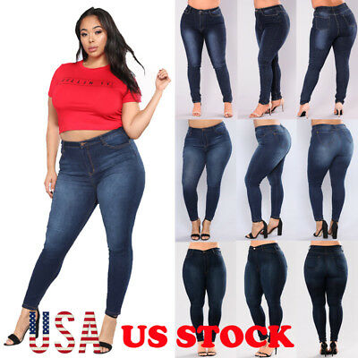 Plus Size Womens High Waisted Skinny Denim Pants Pencil Jeans Trousers US STOCK