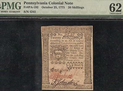 Unc Oct 25, 1775 Pennsylvania Colonial Currency Note Paper Money Pa-192 Pmg 62