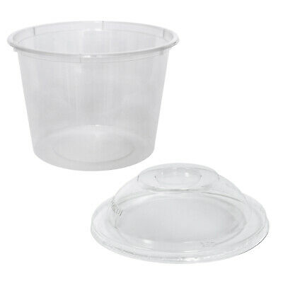 500x Clear Plastic Container with Dome Lid 625mL Round Disposable Rice Dish