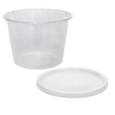500x Clear Plastic Container with Flat Lid 625mL Round Disposable Rice Dish