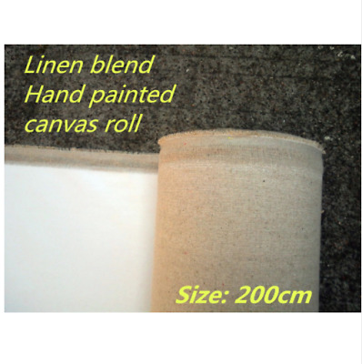 Blank Painting Canvas Long Linen Blend Roll 2m Wide Primed Artist High Quality