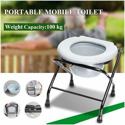 Folding Bedside Commode Potty Chair Portable Mobile Toilet Disablity Aged Care