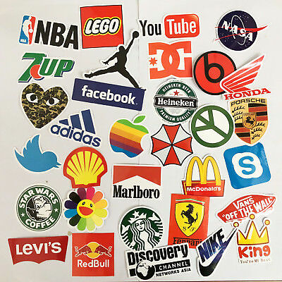 32Pcs Vinyls Brand Logo Stickers Snowboard Decals Luggage Bomb Car PC Stickers