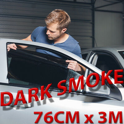 DARK SMOKE 15% CAR WINDOW TINT FILM KIT 76CM x 3M. FULL VIDEO & TOOLS. THE BEST