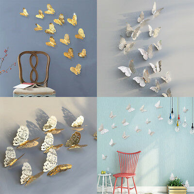 12 Pcs 3D Hollow Wall Stickers Butterfly Fridge For Home Decoration Stickers
