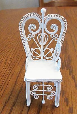 White Wire Doll House Furniture - 1 High Back Chair w/Arms