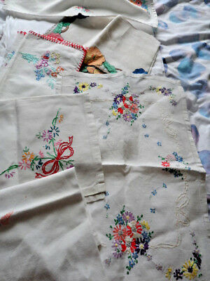 Collection of Hand embroidered Vintage Linens.