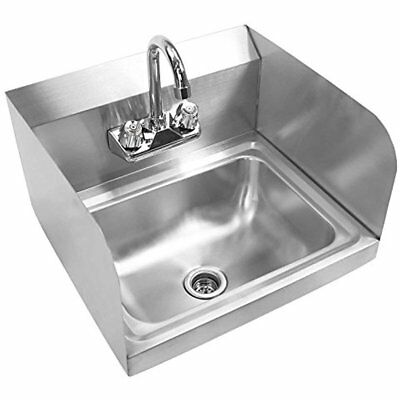 Commercial NSF Stainless Steel Sink With Faucet & Sidesplashes - Wall Mount Hand