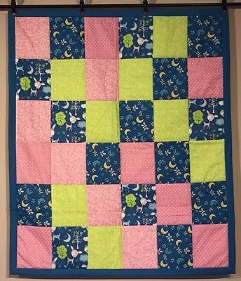 Forest Animals NEW Baby Girl Baby Quilt Nursery Deer Bees Cotton Handmade NEW
