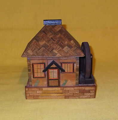 Vintage Wooden Mill House Puzzle Box Bank Japan Asian Crafted Art
